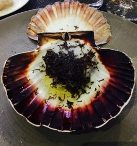 Truffle Scallop in his Shell served at the Black Truffle Dinner at GourmetFest 2016.